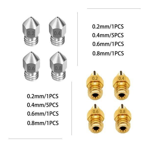 Brass | Stainless Steel Nozzle, 16pcs/Set 2 - Xtzl3d